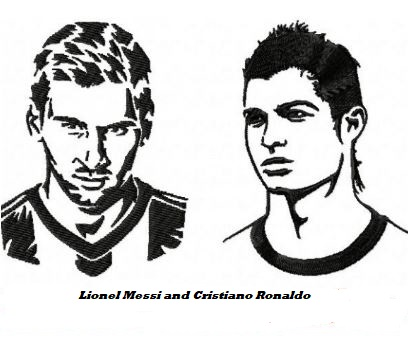 Lionel Messi and Cristiano Ronaldo Coloring Page