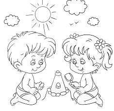 Little Boy And Girl Playing At Coloring Page