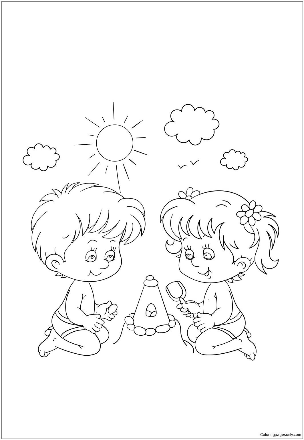 coloring pages little boy and girl | Little Boy And Girl Playing At Coloring Page - Free ...