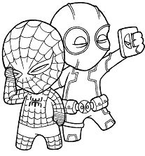 Chibi Deadpool and Chibi Spiderman Coloring Page