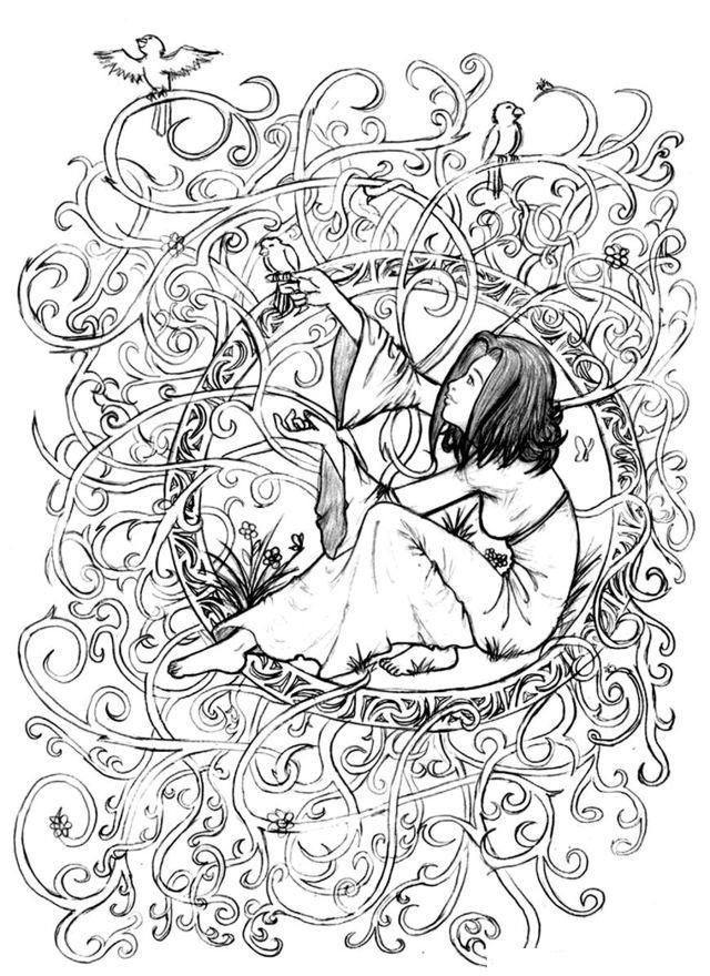 Little Girl In Leaves And Branches
