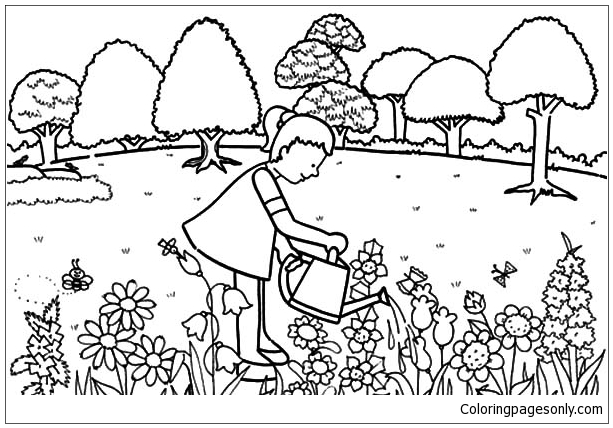 Little Girl Pouring Water In Garden Coloring Page Free Coloring