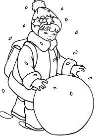 Little Girl Rolling a Snowball