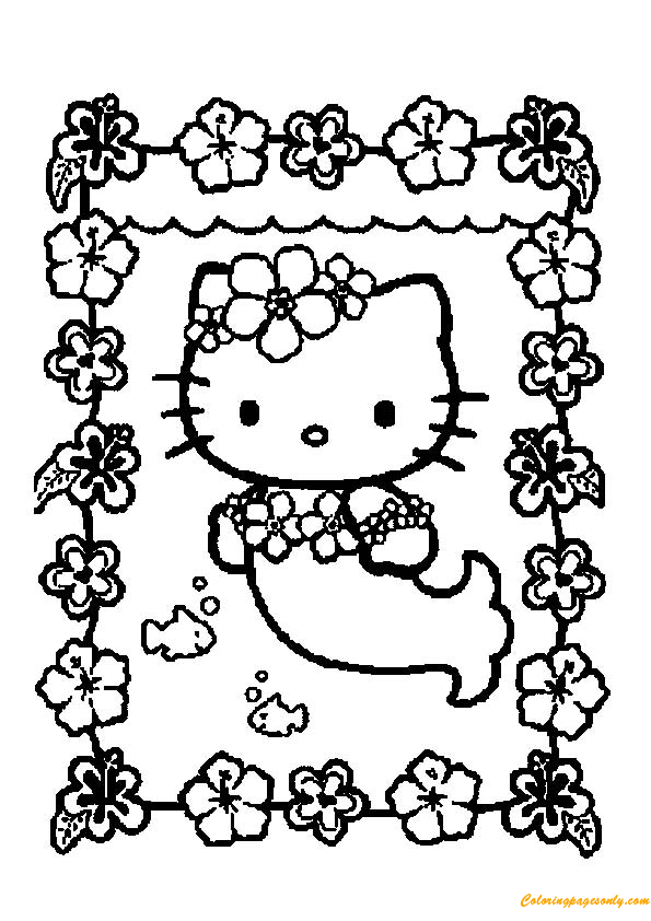 Little Kitty As A Mermaid Coloring Page