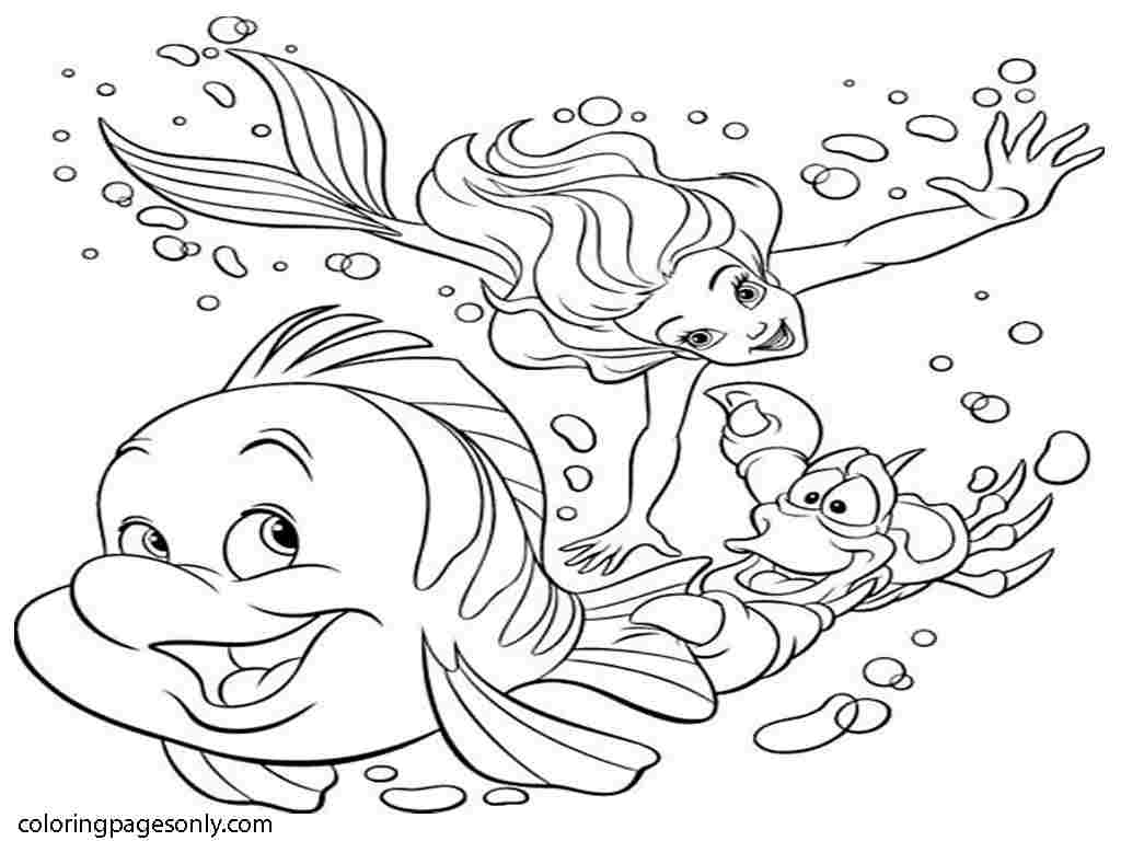 Little Mermaid, Sebastian and Flounder are diving under the sea Coloring Page