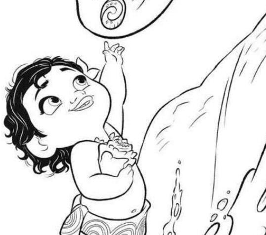 Little Moana Disney Coloring Page