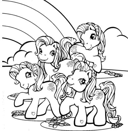 Little Pony Near Rainbow Coloring Page