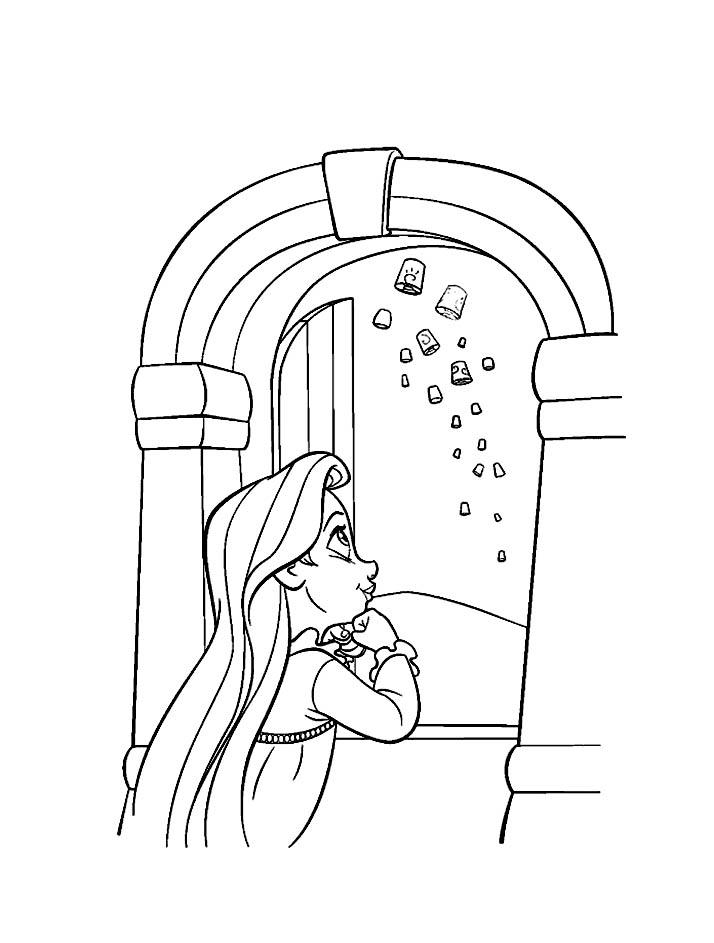 Little Rapunzel sees the lanterns Coloring Page