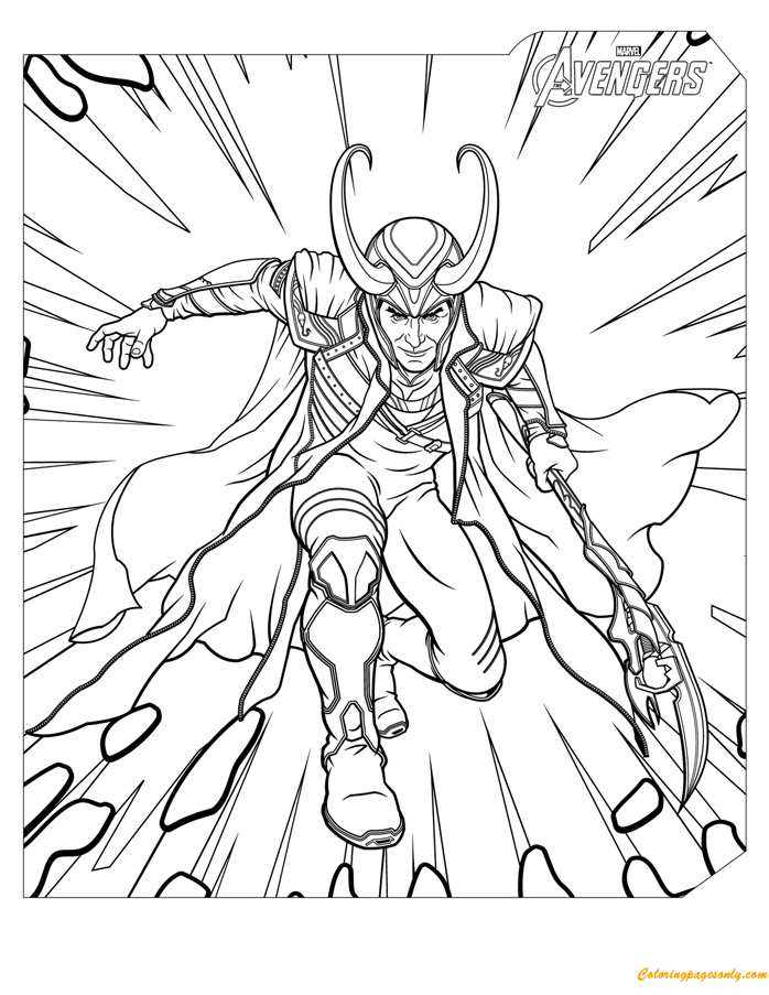 Loki Avengers Coloring Page - Free Coloring Pages Online