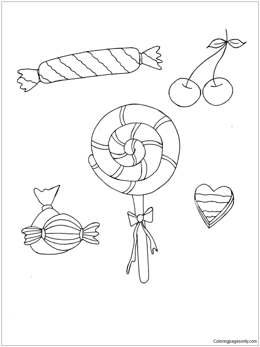 Lollipops Cherry Coloring Pages Food Coloring Pages Free Printable Coloring Pages Online