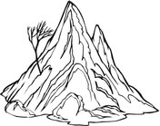 Lonely Tree On The Mountain Stone Coloring Page
