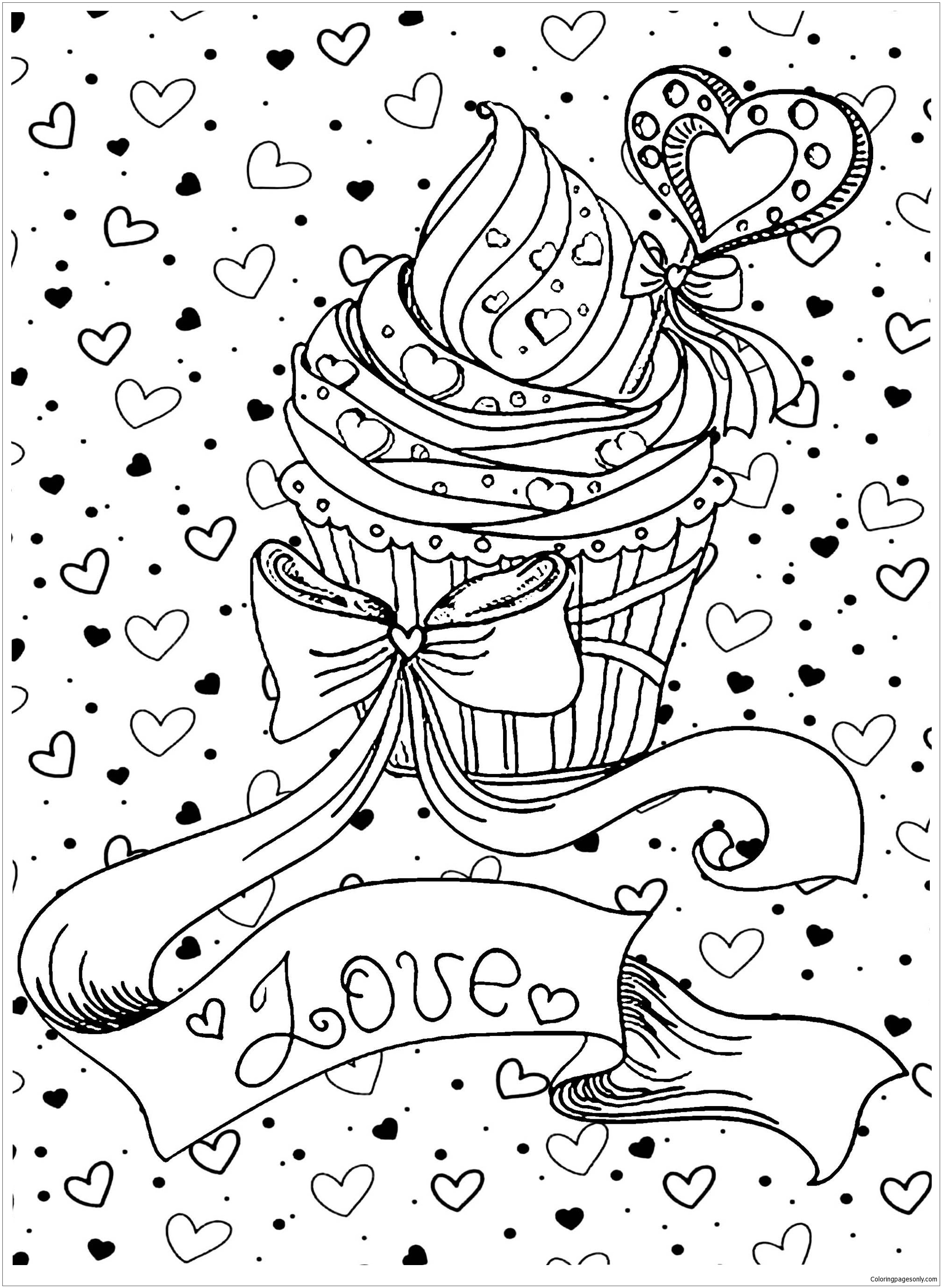 Love Cupcake Coloring Page