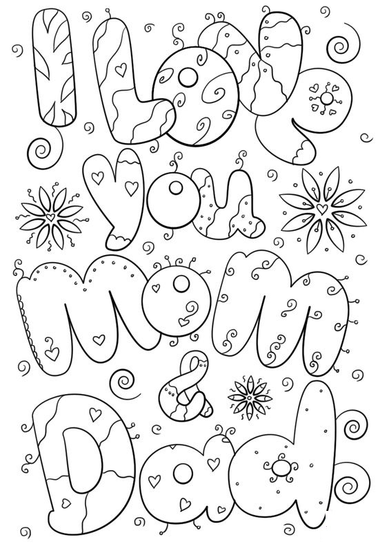 Love Dad And Mom Coloring Pages