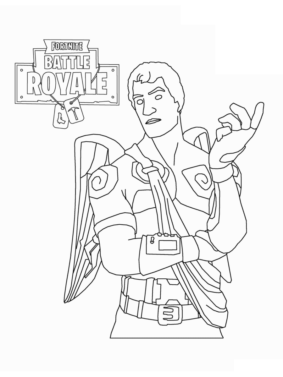 Love Ranger from Fortnite has meanders around his body and stone wings Coloring Page