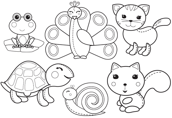 Lovely Animals Coloring Page