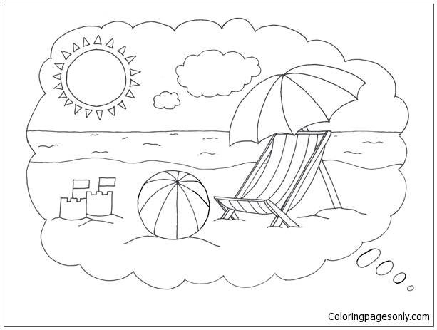 Lovely Beach 1 Coloring Page