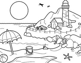 Lovely Beach Coloring Page