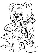 Lovely Bear In Valentines Day Coloring Page