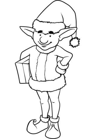 Lovely Christmas Elf Coloring Page