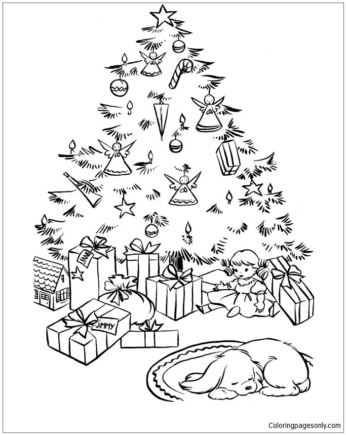 Lovely Christmas Scene Coloring Page