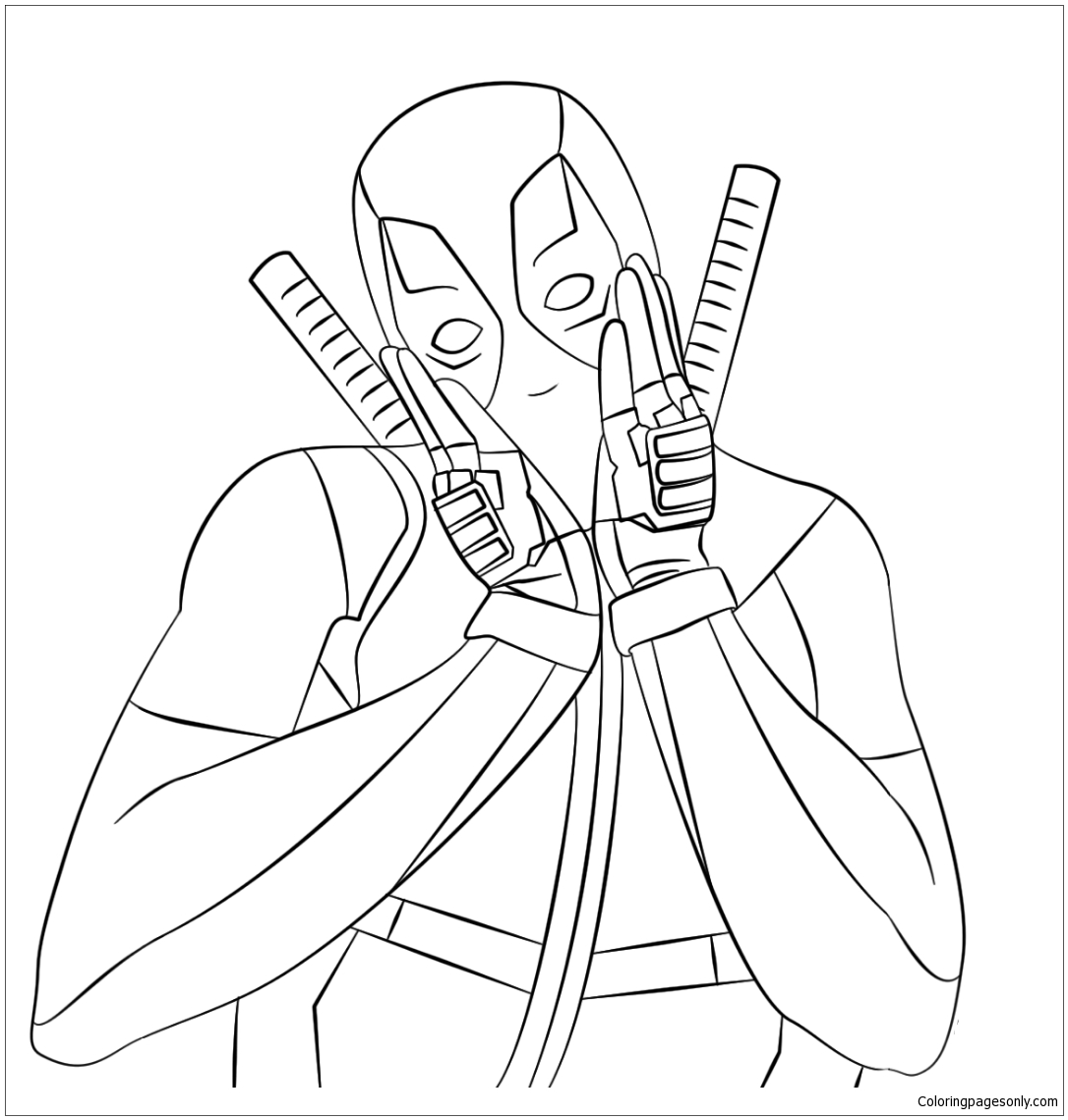 Lovely Deadpool Coloring Page