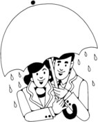 Lovers Under Umbrella In The Rain