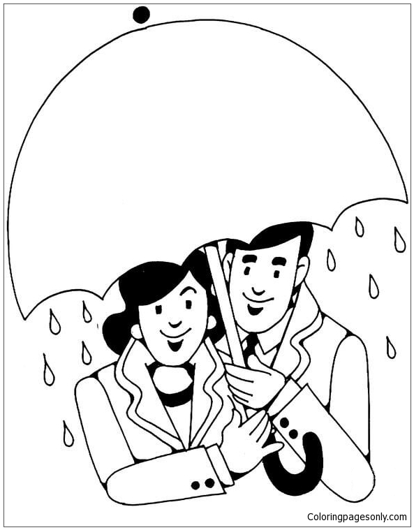 Lovers Under Umbrella In The Rain Coloring Page Free Coloring