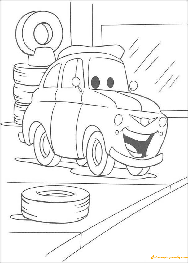 Luigi In The Garage Coloring Page - Free Coloring Pages Online