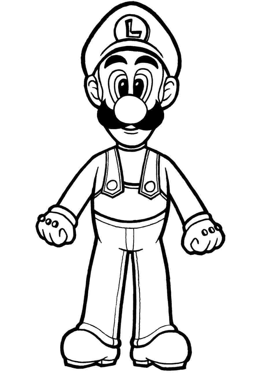 Luigi is a twin brother of Mario Coloring Page