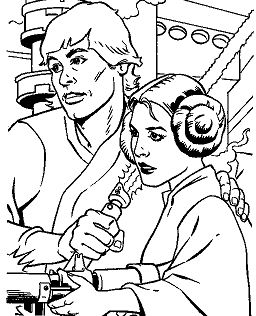 Luke And Leia From Star Wars Coloring Page