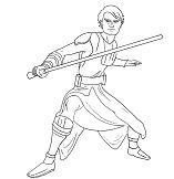 Luke Skywalker from Star Wars 1 Coloring Page