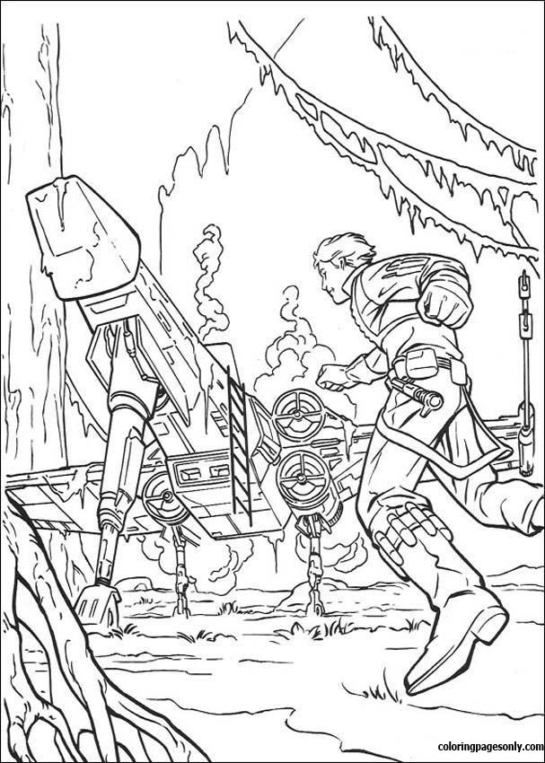 Luke Spaceship On Dagobah Coloring Pages