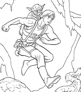 Luke Training And Yoda Coloring Page