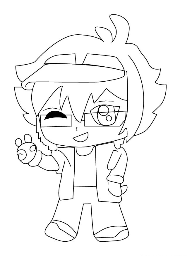 Luni says hi in Gacha Life games Coloring Page