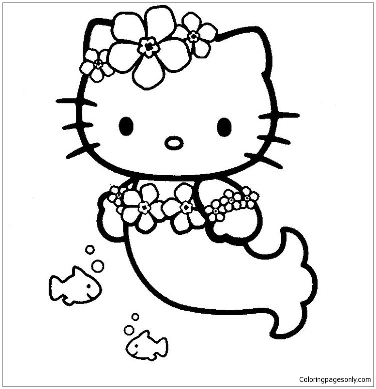 Luxury Hello Kitty Mermaid Coloring Page - Free Coloring ...