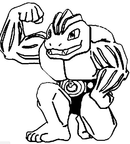 Machoke Pokemon Coloring Page