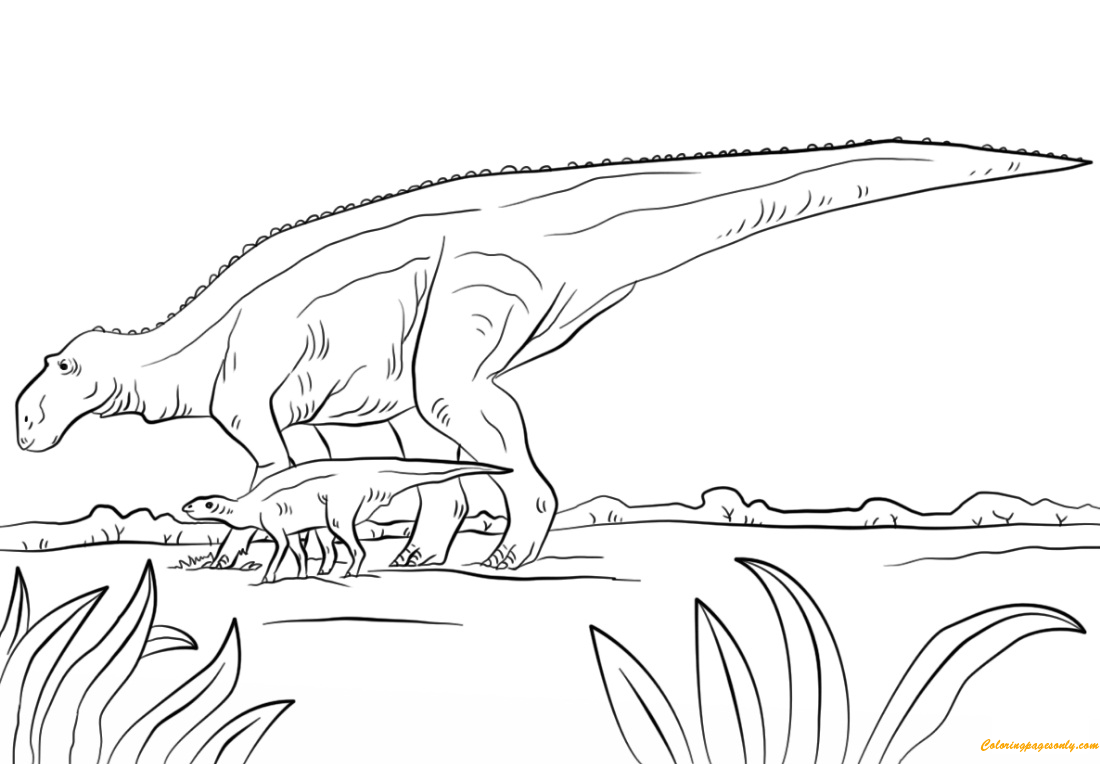 Maiasaura Dino From Cretaceous Period Coloring Page