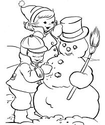 Making Snowman Coloring Page