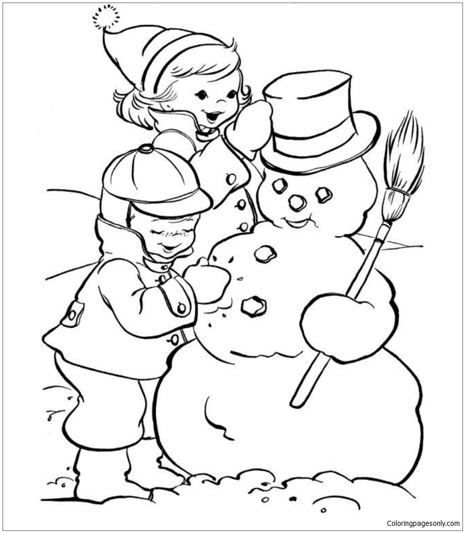Making Snowman Coloring Pages