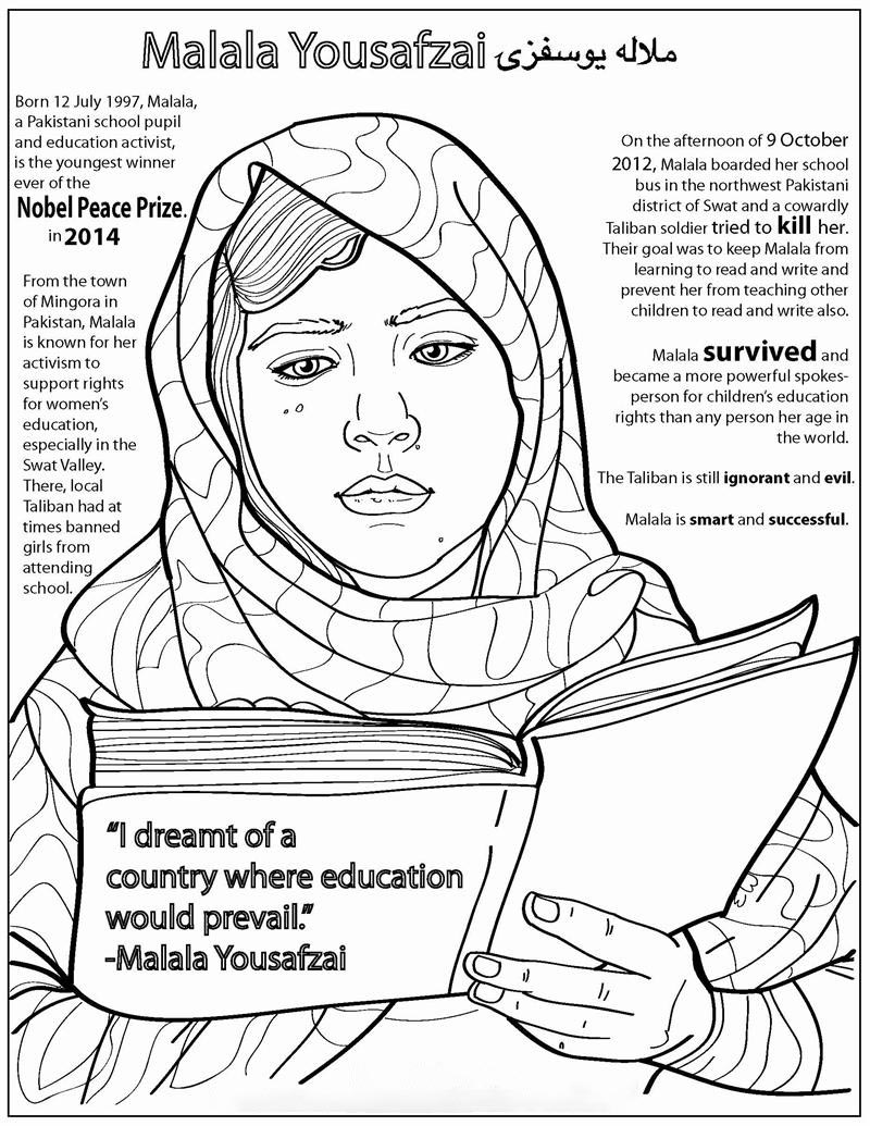 Malala Yousafzai in the newspaper Coloring Page