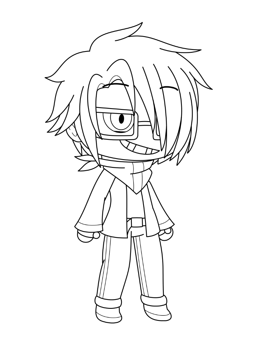 Malignant Ichi in Gacha Life Coloring Page