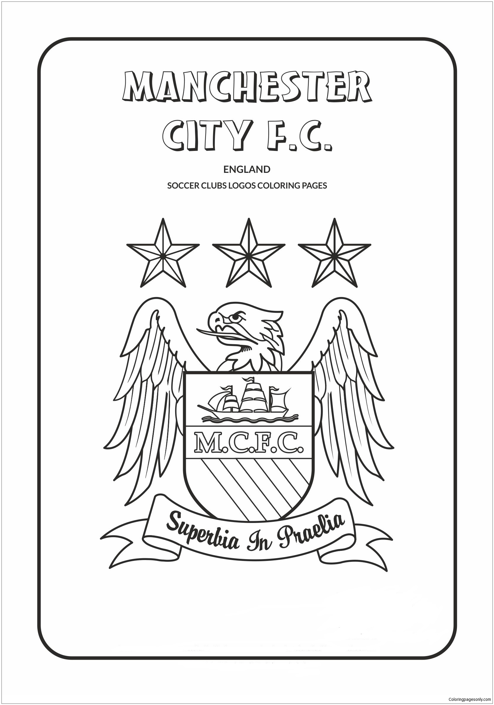 Manchester City F C Coloring Pages Soccer Clubs Logos Coloring Pages Free Printable Coloring Pages Online