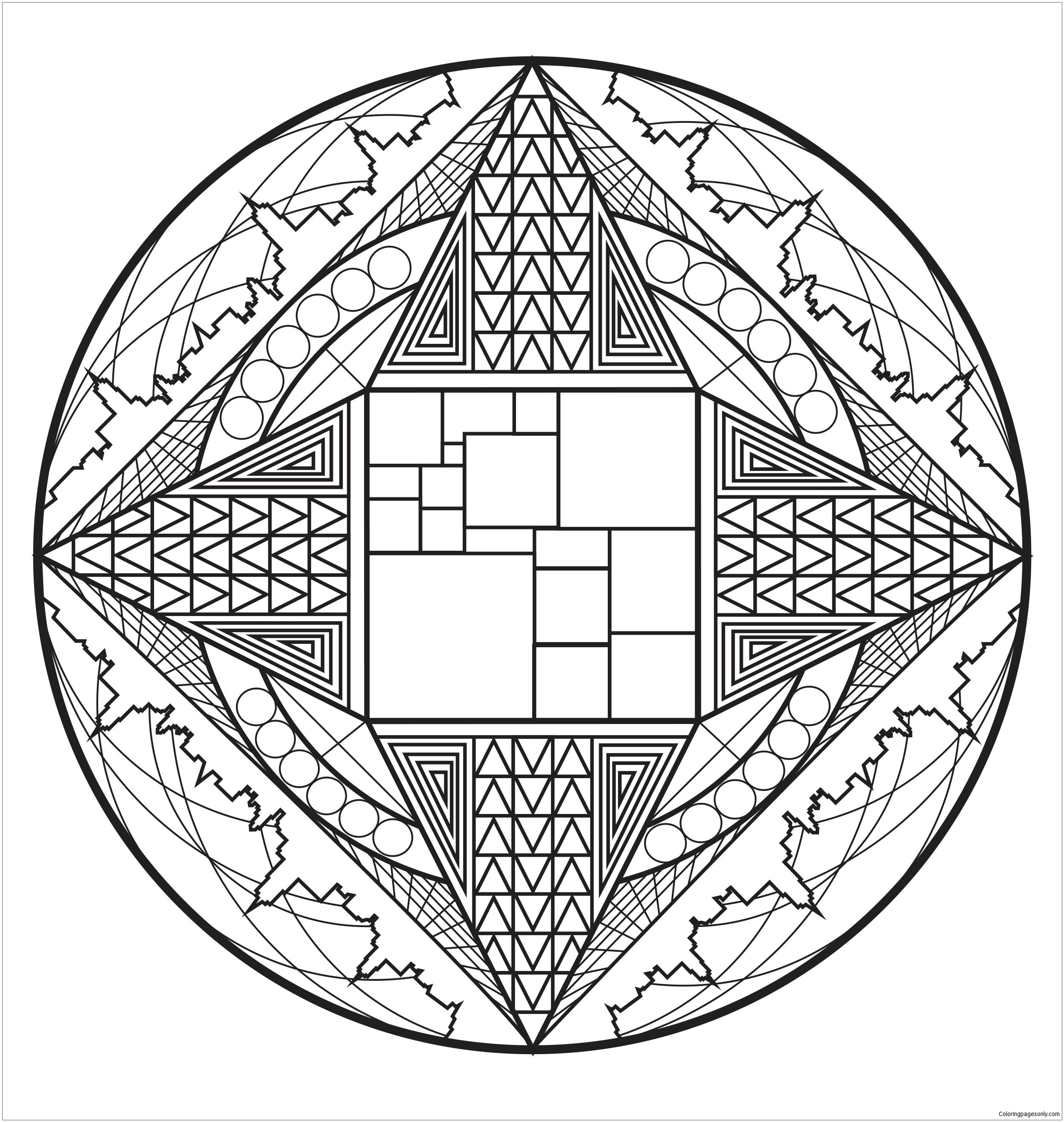 Mandala Art Deco Coloring Page - Free Coloring Pages Online