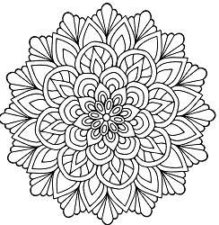 Mandala Flower With Leaves Coloring Page