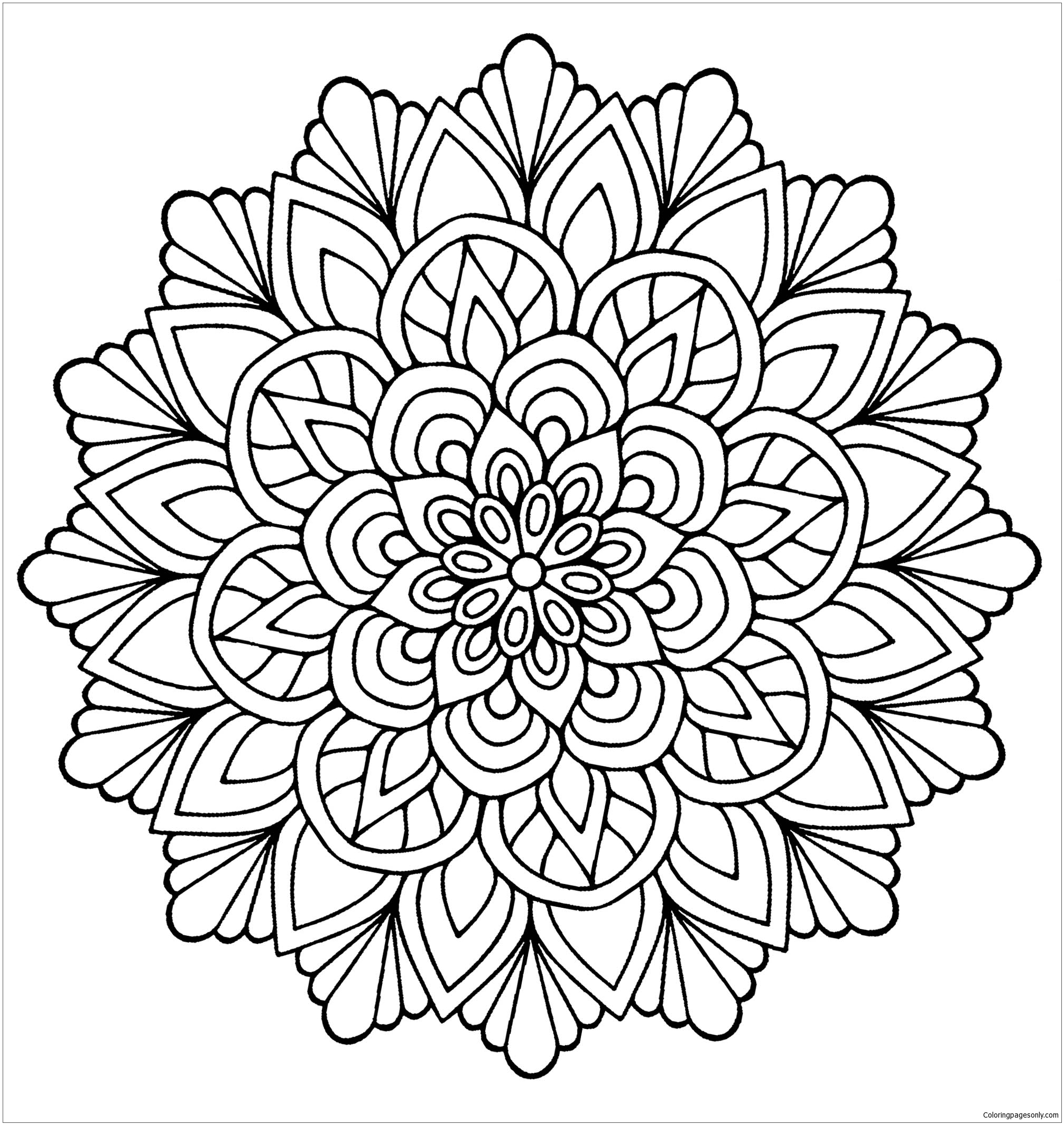 Mandala Flower With Leaves Coloring Page - Free Coloring