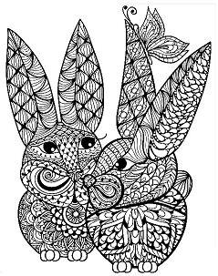 Mandala Rabbit Coloring Page