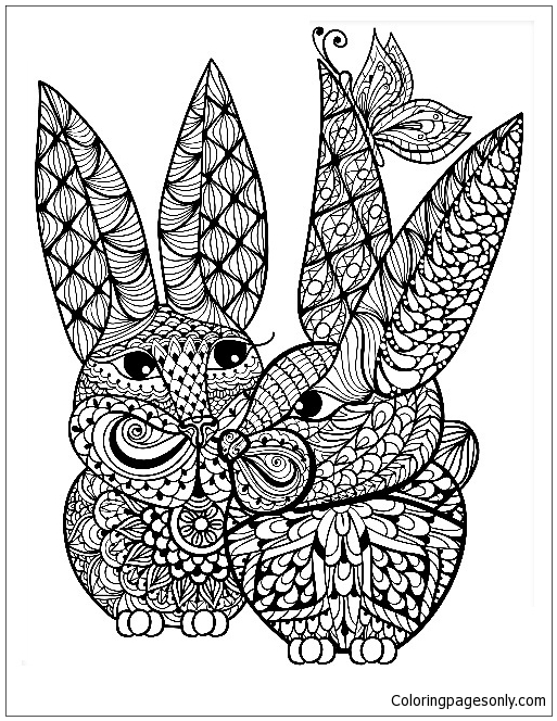 Mandala Rabbit Coloring Page