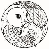 Mandala with 2 Owl heads