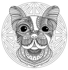 Mandala with cute Dog head and geometric patterns