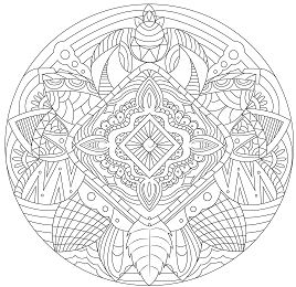 Mandala with Flowers and Feathers Coloring Page